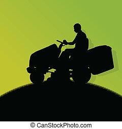 hombre, con, cortacéspedes, tractor, césped cortante, en,...