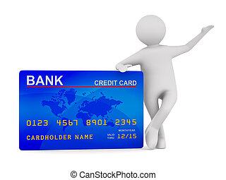 hombre, con, credito, card., aislado, 3d, imagen