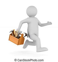 hombre, con, de madera, toolbox., aislado, 3d, ilustración
