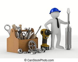 hombre, con, de madera, toolbox., aislado, 3d, imagen