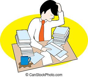hombre, con, desordenado, escritorio