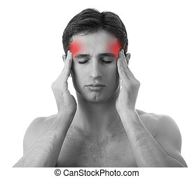 hombre, con, dolor de cabeza, blanco, plano de fondo