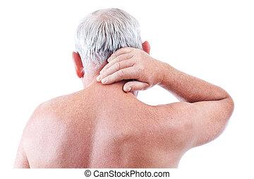 hombre, con, dolor de cuello