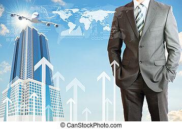 hombre, con, el, plano de fondo, de, avión, y, rascacielos