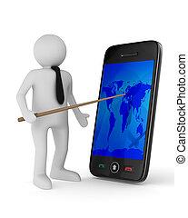 hombre con el teléfono, blanco, fondo., aislado, 3d, imagen