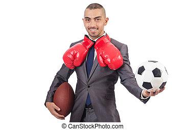hombre, con, engranaje deportivo, aislado, en, el, blanco