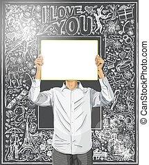 hombre, con, escribir, tabla, contra, amor, plano de fondo