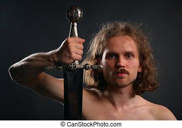 hombre, con, espada