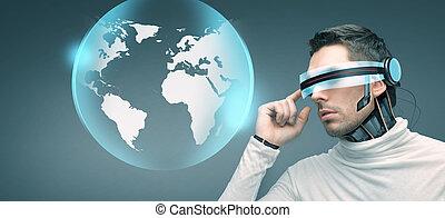hombre, con, futurista, anteojos de 3d, y, sensors