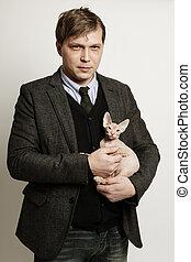 hombre, con, gato, retrato