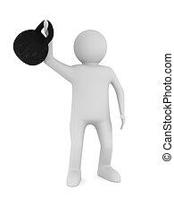 hombre, con, kettlebell., aislado, 3d, imagen