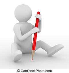 hombre con lápiz, blanco, fondo., aislado, 3d, imagen