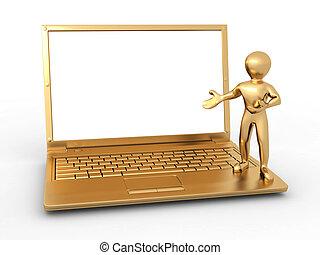 hombre con laptop, blanco, aislado, plano de fondo