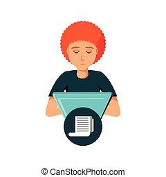hombre con laptop, y, papel, recibo, en, burbuja del discurso