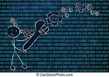 hombre, con, llave inglesa, ajuste up, código binario,...