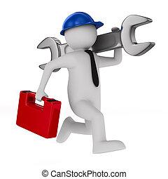 hombre, con, llave inglesa, blanco, fondo., aislado, 3d, imagen
