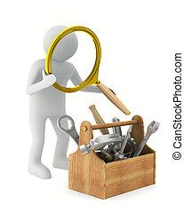 hombre, con, lupa, y, toolbox., aislado, 3d, imagen