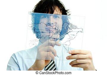 hombre, con, mapa, de, el mundo
