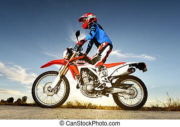 hombre, con, motocross, byke