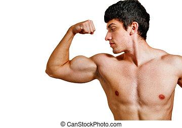 hombre, con, muscular, bíceps, aislado, blanco