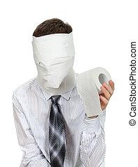 hombre, con, papel higiénico