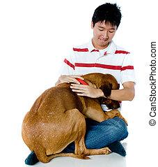 hombre, con, perro
