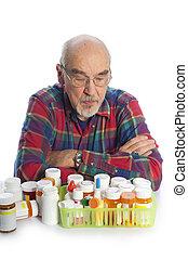 hombre, con, prescripcíon embotella