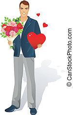 hombre, con, ramo de rosas