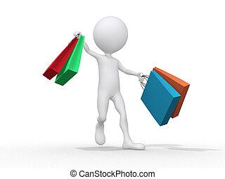 hombre, con, shoping, bolsa, en, white., aislado, 3d, imagen
