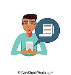 hombre, con, smartphone, y, papel, recibo, en, burbuja del discurso