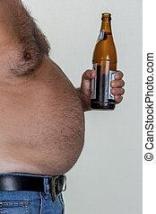 hombre, con, sobrepeso