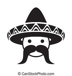 hombre, con, sombrero