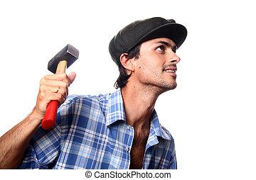 hombre, con, trabajando, herramienta