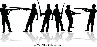 hombre, con, un, arma de fuego