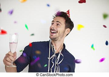 hombre, con, un, vidrio, de, bueno, champaña