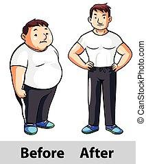 hombre, condición física, después, antes