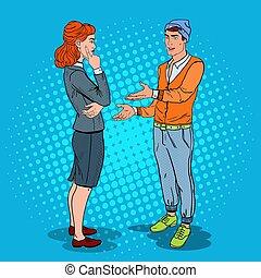 hombre conversación, con, mujer de negocios, en, oficina.