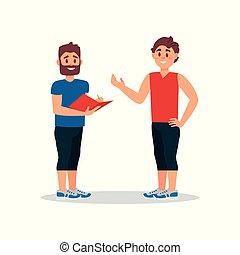 hombre conversación, con, personal, entrenador, en, gym., instructor salud, escritura, entrenamiento, plan, para, joven, guy., plano, vector, ilustración