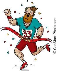 hombre, corredor, cruz, el, fin, línea., caricatura, style., marathon.