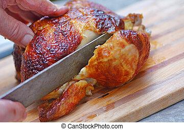 hombre, cortes, pollo, asado