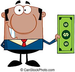 hombre, cuenta, dólar, tenencia, africano