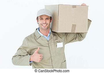 hombre de entrega, actuación, pulgares arriba, mientras, proceso de llevar, caja de cartón