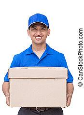 hombre de entrega, sujetar un paquete, caja