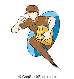 hombre de entrega, tenencia, paquete