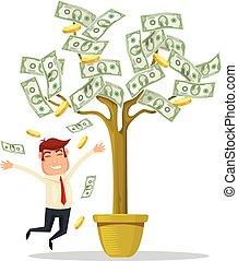hombre de negocios, árbol, dinero