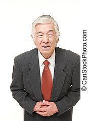 hombre de negocios, 3º edad, sufre,  Stomachache, japonés