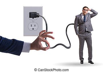 hombre de negocios, accionado, electricidad, enchufe, ser