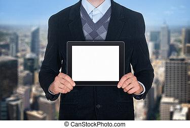 hombre de negocios, actuación, blanco, tableta de digital
