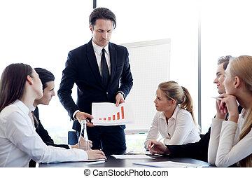 hombre de negocios, actuación, diagrama