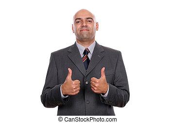 hombre de negocios, actuación, feliz, arriba, pulgares